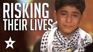 Kids Of Palestine Risk Lives To Show Their Talent Winning Golden Buzzer! العربية حصلت على المواهب