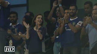 IANS : M S Dhoni attends ISL match : Chennai FC vs Delhi Dynamos