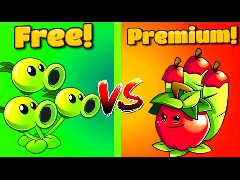 PVZ Free vs Premium ⇒Plants vs Zombies 2 APPLE MORTAR Vs THREEPEATER