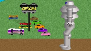Giant Robot Car Crusher - Learn Colors At The Vidsville Salvage Yard