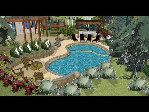 Sketchup 3d landscape design youtube for Pool drawing software