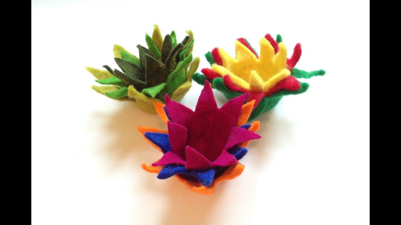 filzen von lotus filzblumen filzbl ten felt flowers. Black Bedroom Furniture Sets. Home Design Ideas