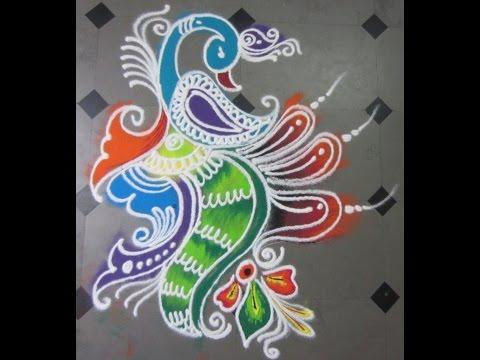 how to make rangoli with peacock