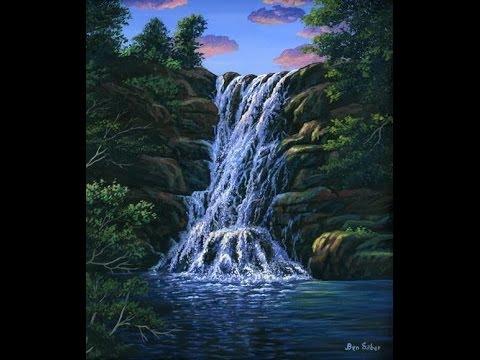 Cara melukis air terjun menggunakan akrilik di atas kanvas