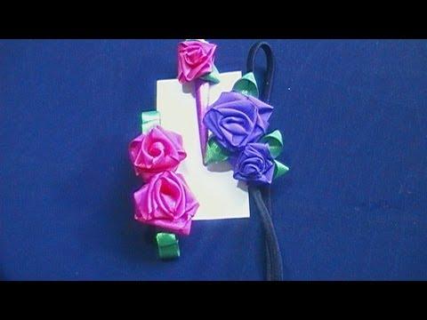 Como hacer rosas de tela/cinta // DIY