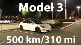 Model 3 drove 500 km/310 mi in a single charge