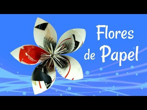 Reciclaje: Flores hechas con revistas. Recycling: How to make flowers with magazines