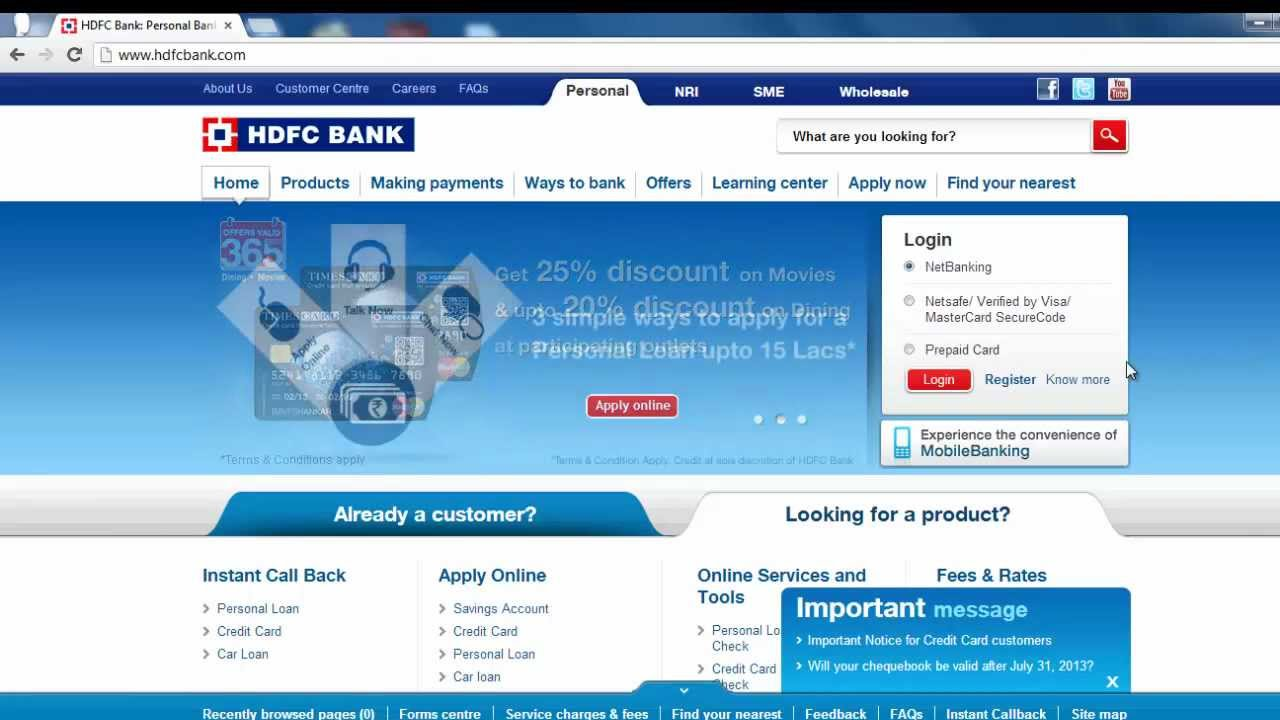 Hdfc forex card netbanking how to login