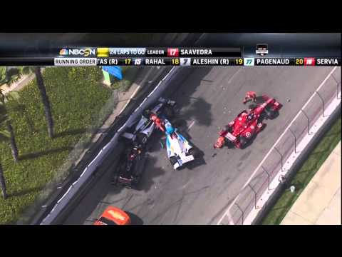 2014 IndyCar Long Beach Crash Newgarden Hunter-Reay Leaders pile up