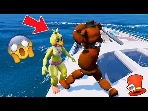 WITHERED FREDDY HITS CHICA OFF THE BOAT! (GTA 5 Mods  FNAF Funny Moments)