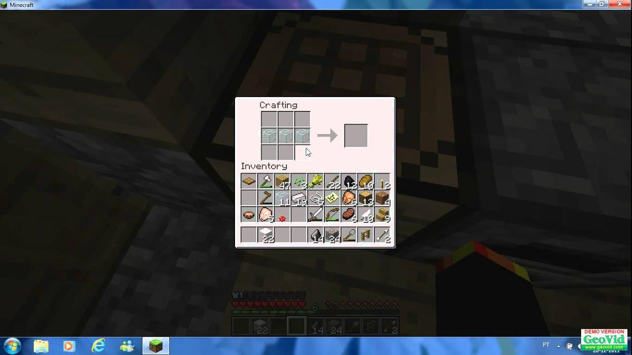 Jogando minecraft vidro fino arco espada setas.   #1F5BAC 1366x768