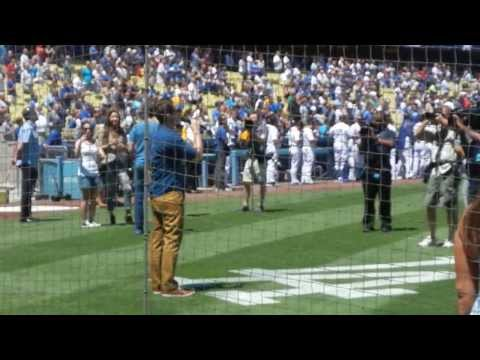 8/24/2013 - Matthew Morrison's National Anthem and the Red Sox Starting Lineup at Dodger Stadium