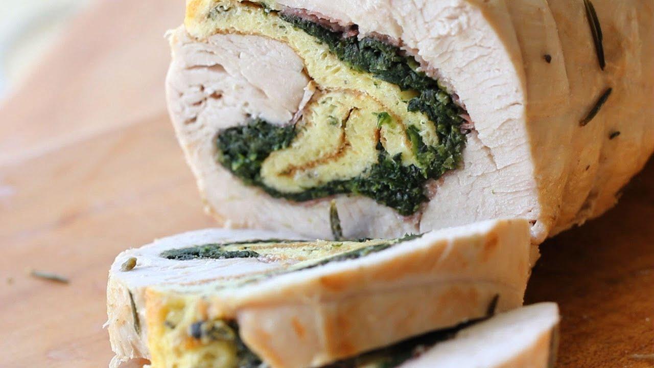 Turkey breast roast stuffed w/ pancetta spinach frittata ...