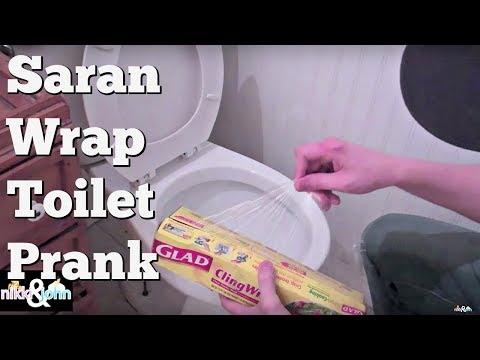 Saran Wrap Toilet Prank~