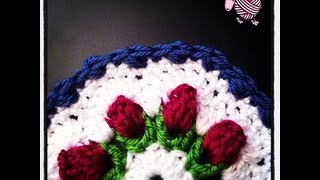 Crochet Flower Bud Granny Octagon Afghan Squares And