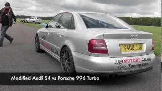 Porsche 997 GT2 launch vs modified Audi S4 videos