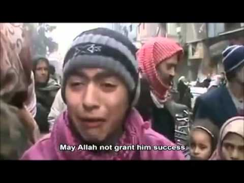A young boy in Yarmouk refugee camp in Syria pleading and crying tears for food and drink  Get ready