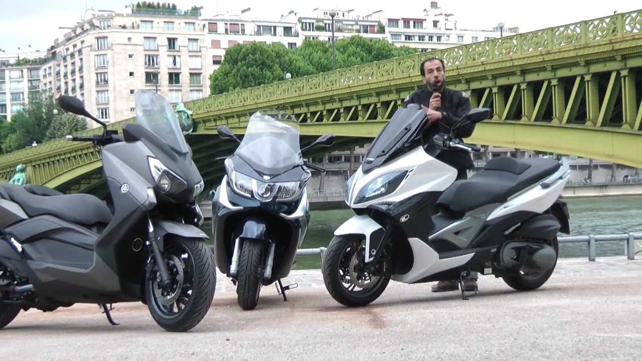 comparatif maxi scooters yamaha x max 400 piaggio x10 350 et kymco xciting 400i youtube. Black Bedroom Furniture Sets. Home Design Ideas