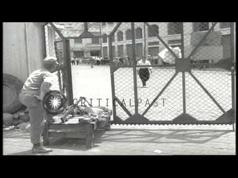 USMC LVTP-5 and Marines on guard at a dock in Beirut, Lebanon during the Lebanon ...HD Stock Footage