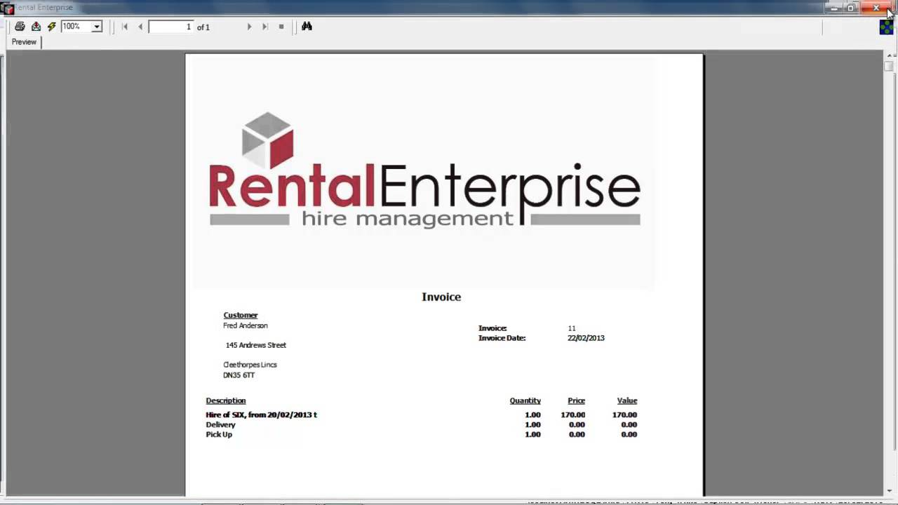 rental enterprise how to ammend the booking invoice report