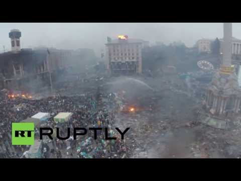 Ukraine: Ruptly's drone hit by laser as it hovers over Maidan