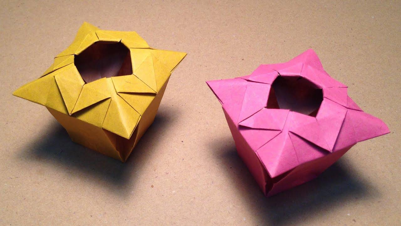 折り紙の 簡単な折り紙の折り方 花 : Origami Paper Vase Instructions