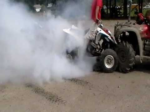Yamaha Raptor smokes tires until they blow NCATV ATV Rodeo, Stratford NH