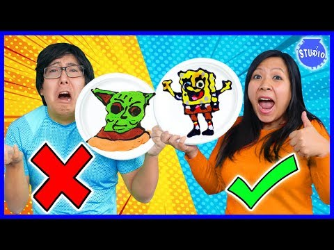 PANCAKE ART CHALLENGE! Baby Yoda Vs Spongebob! Learn how to do DIY Pancake Art!