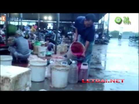 Lòng lợn, tiết canh pha nước thải