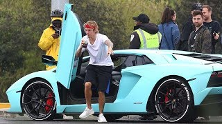 See Justin Bieber Busts A Move As He Blasts Tunes From His Lamborghini Aventador!