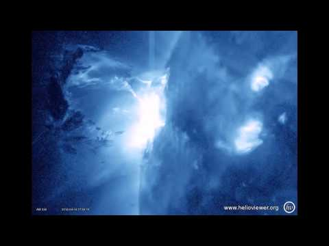 M1.7-class solar flare + A really spectacular eruption!!