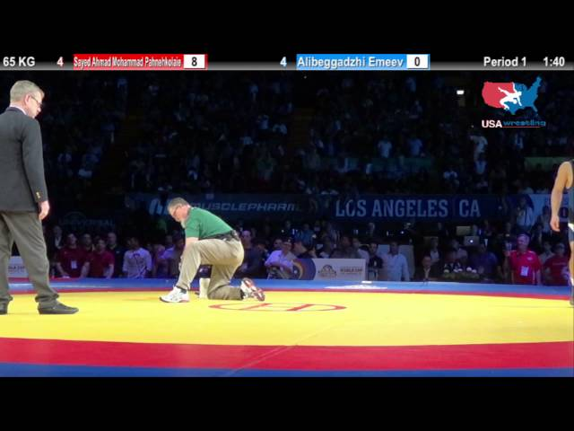 1ST PLACE: 65 KG Sayed Ahmad Mohammad Pahnehkolaie (Iran) vs  Alibeggadzhi Emeev (Russia)