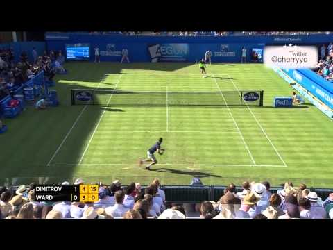 2014 Queen's Club 1R Grigor Dimitrov vs James Ward (Maria Sharapova in Crowd) Highlights + Interview