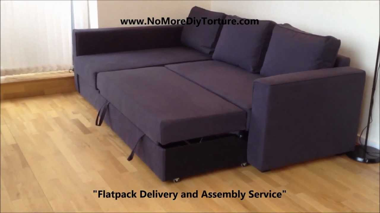 ikea manstad corner sofa bed with storage v2 youtube. Black Bedroom Furniture Sets. Home Design Ideas