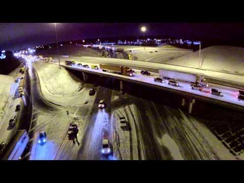 Aerial Video of  Winter Storm 2014 Alabama