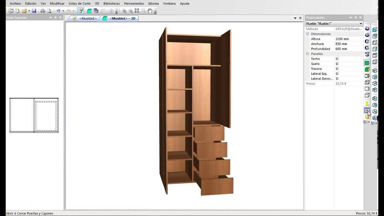 Programa para Diseñar Muebles, Armarios, Cocinas, etc Optimizador de