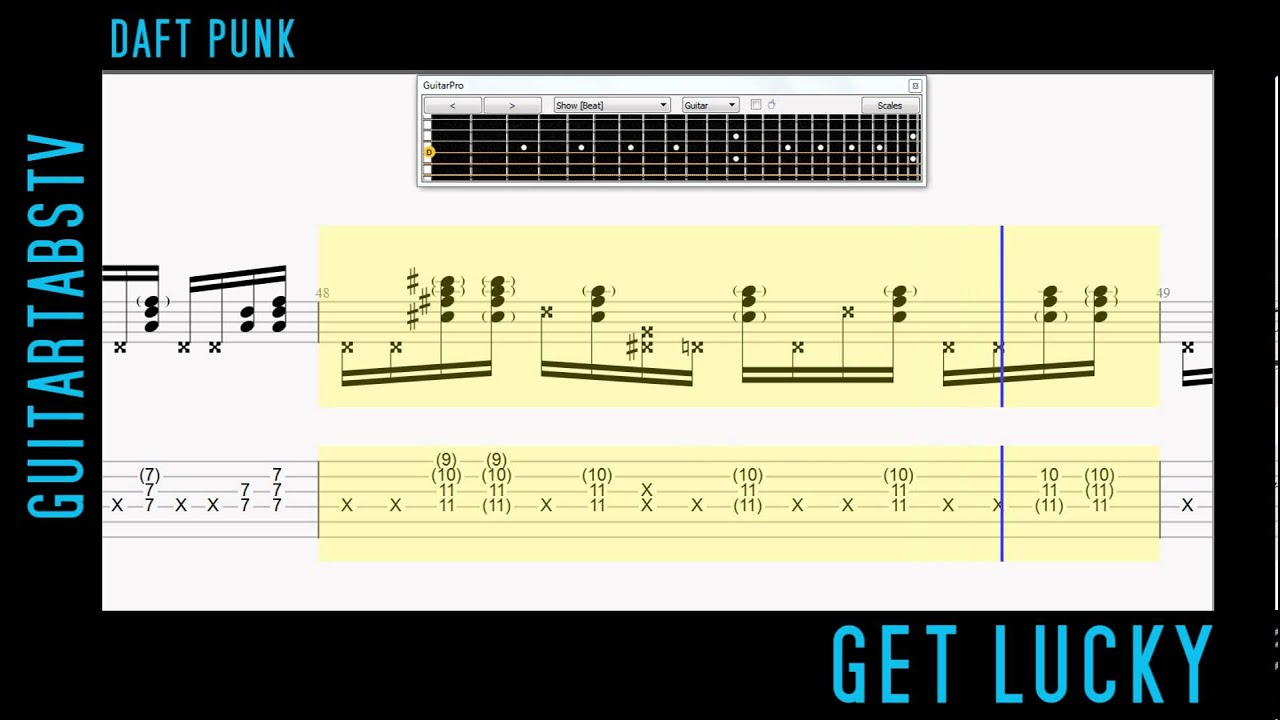 Get Lucky EASY Guitar Tabs Daft Punk feat. Pharrell Williams - YouTube