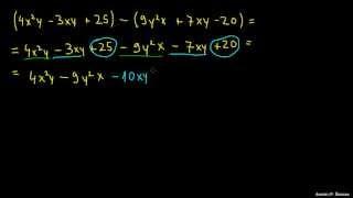 Odštevanje polinomov z različnimi neznakami
