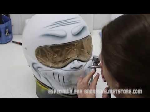 Airbrushing a custom motorcycle helmet- Smiley face helmet