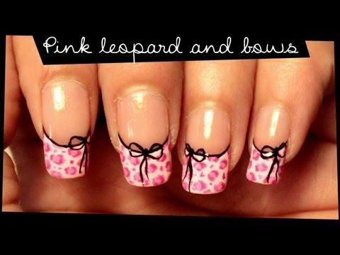 Pink Leopard & Bows nail art