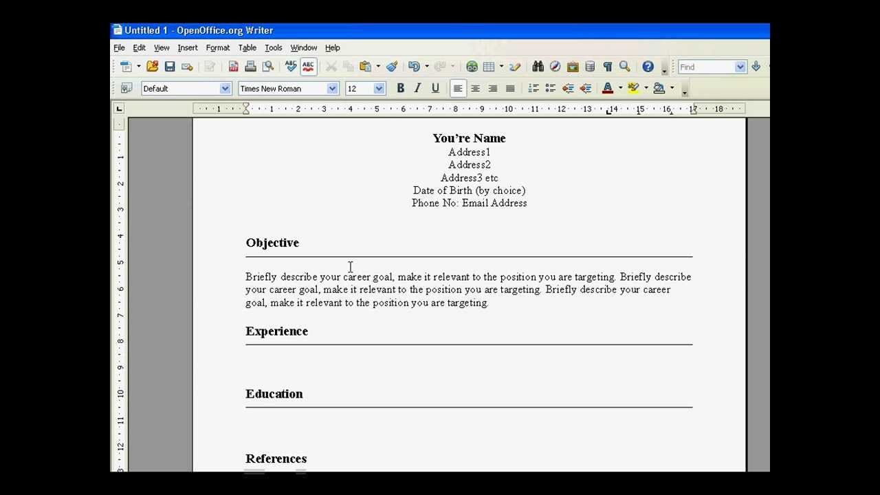 create a resume in open office