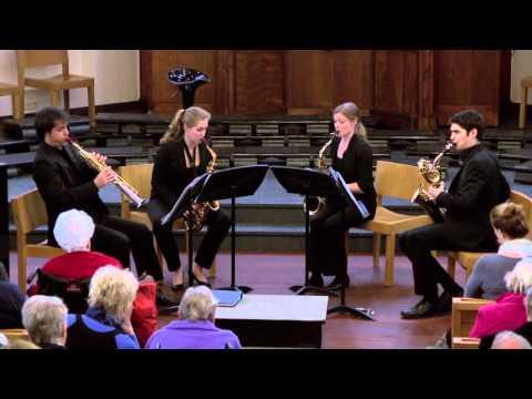 Melisma Saxophone Quartet playing quartet opus 20 no. 5 by J. Haydn Moderato