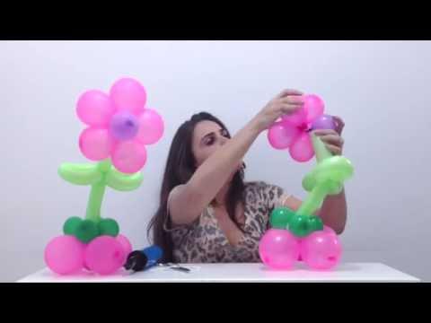 Como fazer uma flor de balões para centro de mesa - decoração de balões / bexigas