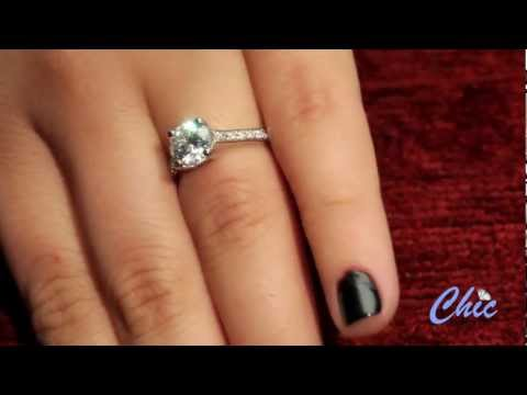 Round cubic zirconia  engagement ring in 14k  white gold -item # 7774pavee