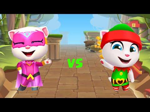 Talking Tom Hero Dash Super Angela vs Gold Run Elf Angela Funny Gameplay!!