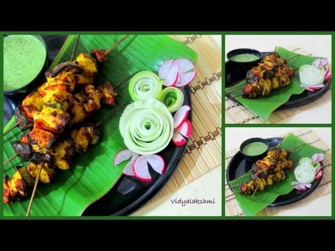 Tulasi Kozhi Kabab (Basil Garlic Chicken Tikka Recipe )