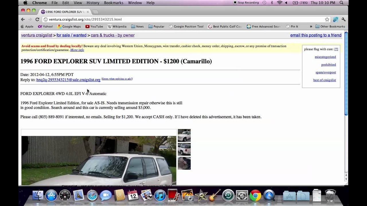 Craigslist Ventura County Used Cars Trucks And Suvs For Sale By Owner Youtube