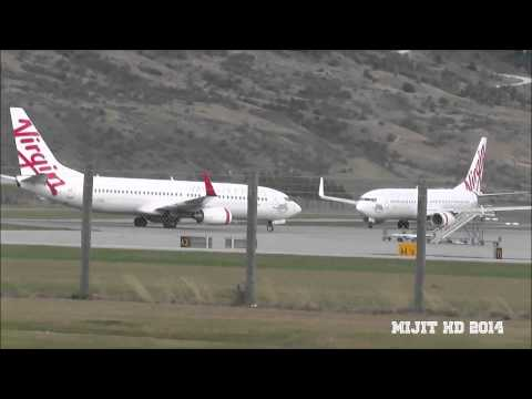 2 Virgin Australia 737-8FE's landing and taking off at Queenstown Airport