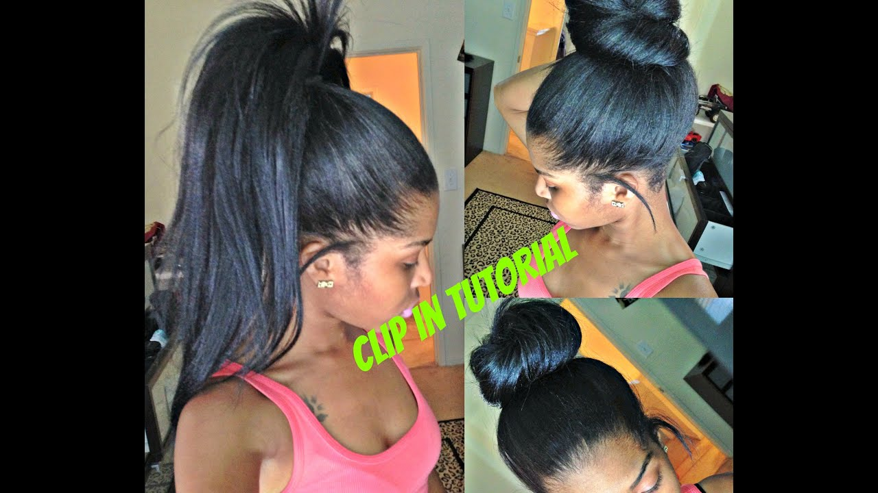 High Ponytail and Bun with Clip ins ( No lumps!!) - YouTube