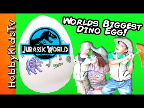 Worlds Biggest JURASSIC WORLD DINOSAUR Egg! Surprises + HobbyBobby Lego by HobbyKidsTV